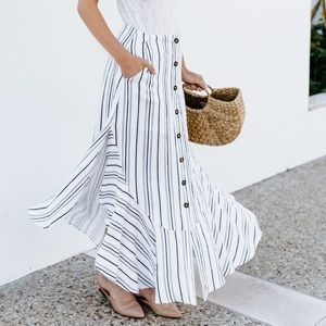 Button Striped Skirt